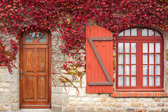 Vite rossa di autunno sulla casa Immagine Stock Libera da Diritti