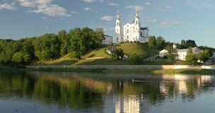 Vitebsk, Belarus. Assumption Cathedral Church In Upper Town On Uspensky Mount Hill And Dvina River In Sunny Summer Day.  stock video footage