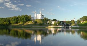 Vitebsk, Belarus. Assumption Cathedral Church In Upper Town On Uspensky Mount Hill And Dvina River In Sunny Summer Day. Zoom, Zoom In stock video