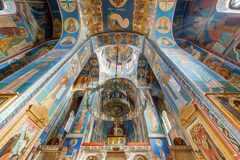 Free VITEBSK, BELARUS - AUGUST 2019: Interior Dome And Looking Up Into A Old Orthodox Church Ceiling And Vaulting With Fresco Royalty Free Stock Photos - 195786648
