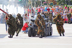 Vitebsk, Belarus - August 2, 2015: Belarus army soldiers during the celebration of the Paratroopers VDV Day on August 2, 2015 in V Royalty Free Stock Photography