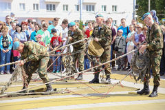 Vitebsk, Belarus - August 2, 2015: Belarus army soldiers during the celebration of the Paratroopers VDV Day on August 2, 2015 in V Royalty Free Stock Image