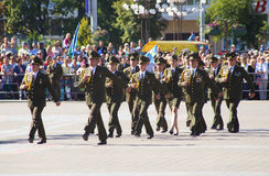 Vitebsk, Belarus - August 2, 2015: Belarus army soldiers during the celebration of the Paratroopers VDV Day on August 2, 2015 in V Stock Photos