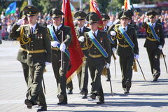 Vitebsk, Belarus - August 2, 2015: Belarus army soldiers during the celebration of the Paratroopers VDV Day on August 2, 2015 in V Stock Photo