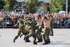 Vitebsk, Belarus - August 2, 2015: Belarus army soldiers during the celebration of the Paratroopers VDV Day on August 2, 2015 in V Royalty Free Stock Images