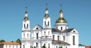 Vitebsk, Belarus. Close Up Of Assumption Cathedral Church In Upper Town On Uspensky Mount Hill In Summer Evening. Zoom. Zoom Out stock video