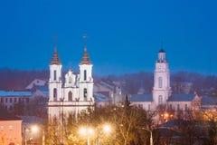 Vitebsk, Belarus. Evening Night View Of Famous Landmarks Is Church Stock Images