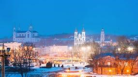 Vitebsk, Belarus. Famous Landmarks In Winter Night Cityscape. Stock Photos