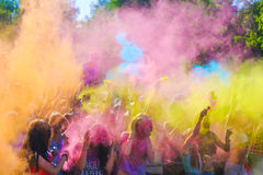 Vitebsk, Belarus - July 4, 2015: Throwing color at the Holi color festival stock photo
