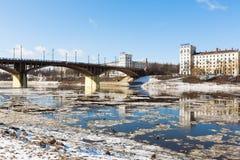 VITEBSK, BELARUS - 20 MARCH, 2016: Kirov Bridge in snowbreak Royalty Free Stock Photos