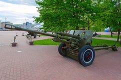 76-mm divisional gun of 1942 model ZIS-3 on Alley of military glory in park of Winners, Vitebsk, Belarus Royalty Free Stock Photos