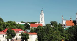 Vitebsk, Belarus. Town Hall And Church Of Resurrection Of Christ In Sunny Summer Day. Zoom, Zoom In.  stock video footage