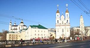 Vitebsk, Belarus. Traffic At Lenina Street And Landmarks On Background Church Of The Resurrection Of Christ On The. Vitebsk, Belarus - February 15, 2017: Traffic stock video