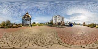 VITEBSK, BIELORRÚSSIA - EM OUTUBRO DE 2018: panorama esférico sem emenda completo 360 graus de opinião de ângulo perto da igreja  imagens de stock royalty free