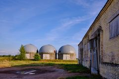 Farm building for silo stock image