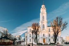 Vitebsk, Wei?russland Ansicht der alten Stadt Hall In Winter Sunny Day Ber?hmter Grenzstein lizenzfreie stockfotos