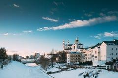 Vitebsk, Wit-Rusland Het beroemde Oriëntatiepunt is de Kerk van de Veronderstellingskathedraal in Hogere Stad op Uspensky opzet H royalty-vrije stock afbeelding