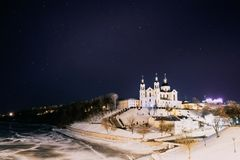 Vitebsk, Wit-Rusland Het beroemde Oriëntatiepunt is de Kerk van de Veronderstellingskathedraal in Hogere Stad op Uspensky opzet H royalty-vrije stock foto