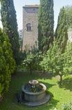 Viterbe, vieux puits et jardin image stock