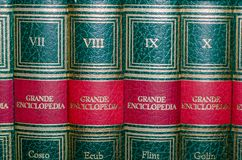 Viterbo 18/03/2018 books of an encyclopedia. Books of an encyclopedia with numbered volumes royalty free stock images