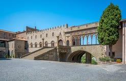 The famous `Palazzo dei Papi` in Viterbo, Lazio, central Italy. Viterbo is a city in central Italy. The Palazzo dei Papi, a palace with an elegant loggia, was royalty free stock photos