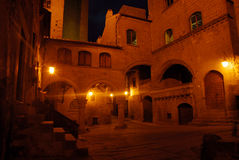 Viterbo by night. San pellegrino is the most important part of the city. it was built in the middle age and now is the oldest part of viterbo stock image