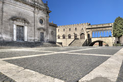 Viterbo Piazza Cathedral Saint Lawrence and Papal Palace stock photography