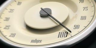 Vitesse élevée d'Internet Détail de plan rapproché de tachymètre de mesure de voiture de vintage, fond noir illustration 3D Images stock