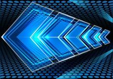 Vitesse bleue abstraite de flèche sur le vecteur moderne de fond de conception de maille de cercle illustration de vecteur