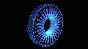 Vitesse de roue dentée dans le style de Wireframe d'hologramme Rendu 3D gentil illustration de vecteur