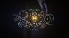 Vitesses émouvantes d'homme d'affaires, succès de dessin, concept de solution avec la roue de vitesse sur le tableau, créatif, st