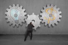 Vitesses concrètes se réunissantes avec le symbole de lampe et d'argent Images stock