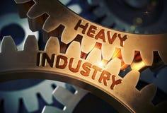 Vitesses d'or avec le concept d'industrie lourde illustration 3D Images libres de droits