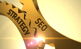 Vitesses d'or avec SEO Strategy Concept 3d Photos stock