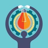 Vitesses et ampoule et homme d'affaires - illustration de technologie illustration de vecteur