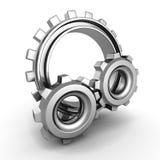Vitesses métalliques brillantes de roue dentée sur le fond blanc Photos libres de droits