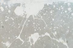 Vitfärgstänk på den gråa bakgrundsbetongväggen, smutsigt som är splotchy, yttersida Dekorativa våta målarfärgdroppar, abstrakt ko Arkivfoton