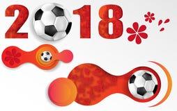 Vitfotbollbakgrund 2018 med fotbollbollen royaltyfri illustrationer