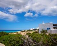 Vithus för Es calo de san Agustin Beach i Formentera Fotografering för Bildbyråer