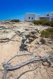 Vithus för Es calo de san Agustin Beach i Formentera Royaltyfri Bild