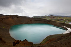 Viti crater and geothermal power station in a distance, Krafla, stock photography