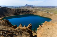 Viti crater and lake in Krafla volcanic area Royalty Free Stock Images