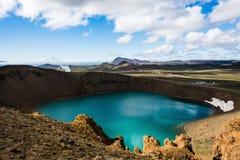 Viti krater på Krafla Royaltyfri Fotografi