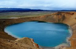 Viti lake in the Central Iceland. Viki is a geothermal lake of mineral-rich, sulphurous, opaque blue water situated in the Central part of Iceland Royalty Free Stock Photos