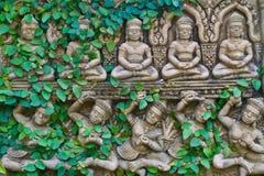 Viticoltura sulla parete della statua del buddha fotografia stock libera da diritti