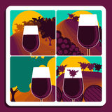 Viticulture and wine. Set of four illustrations depicting viticulture and wine with a glass of red wine over a different vineyard scene with the addition of Stock Images