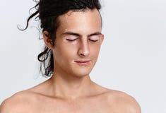Vitiligo man portrait. Studio shot. Gray background Royalty Free Stock Photos