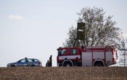 VITIN,捷克- 2018年4月14日, :烟花和警察depa 免版税库存照片