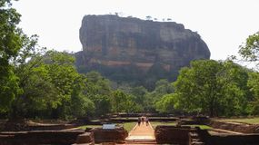 Vitising famous Sigiriya rock Lion rock, Sri Lanka royalty free stock photography