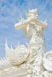Vitjättestaty i Wat Rong Khun, Chiang Rai, Thailand Royaltyfri Foto